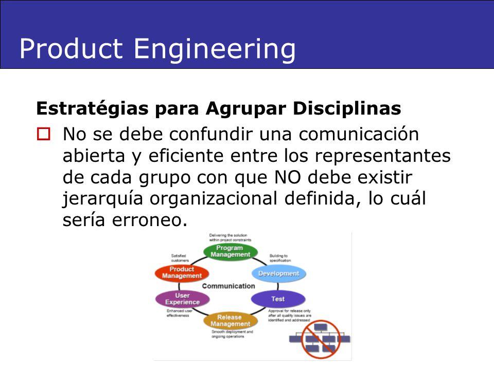 Product Engineering Estratégias para Agrupar Disciplinas No se debe confundir una comunicación abierta y eficiente entre los representantes de cada gr