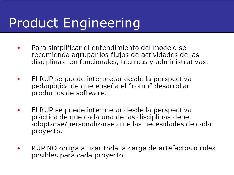 Para simplificar el entendimiento del modelo se recomienda agrupar los flujos de actividades de las disciplinas en funcionales, técnicas y administrat
