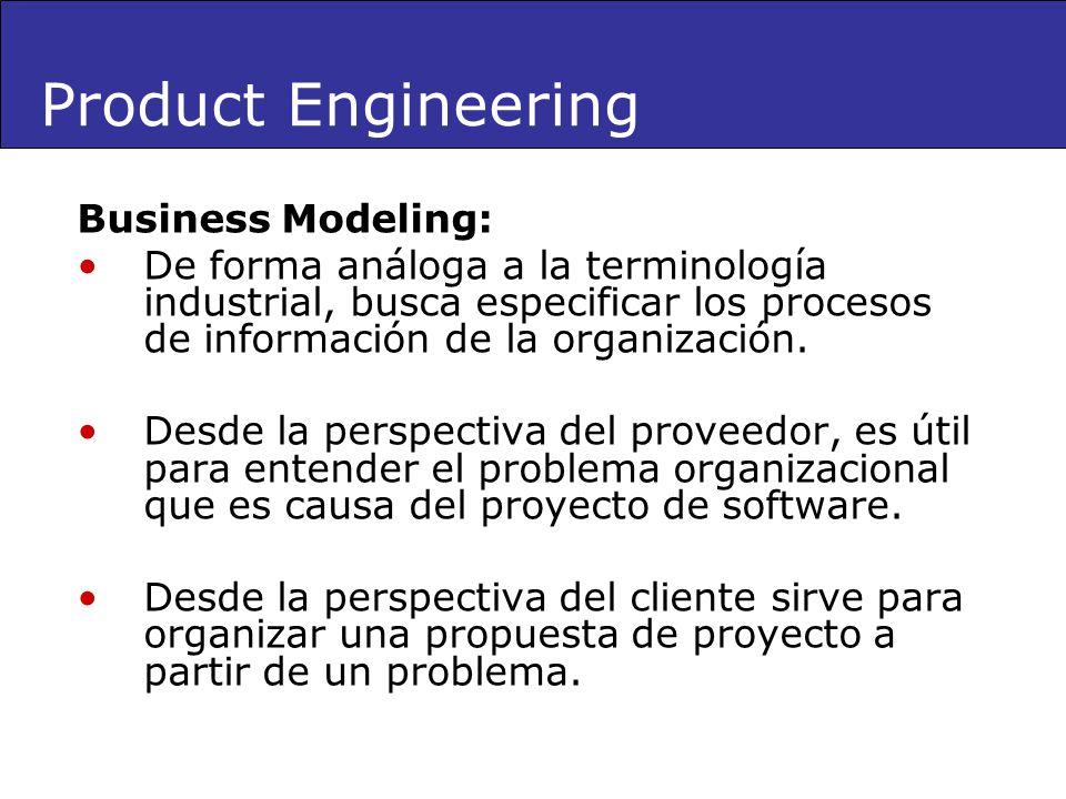 Business Modeling: De forma análoga a la terminología industrial, busca especificar los procesos de información de la organización. Desde la perspecti