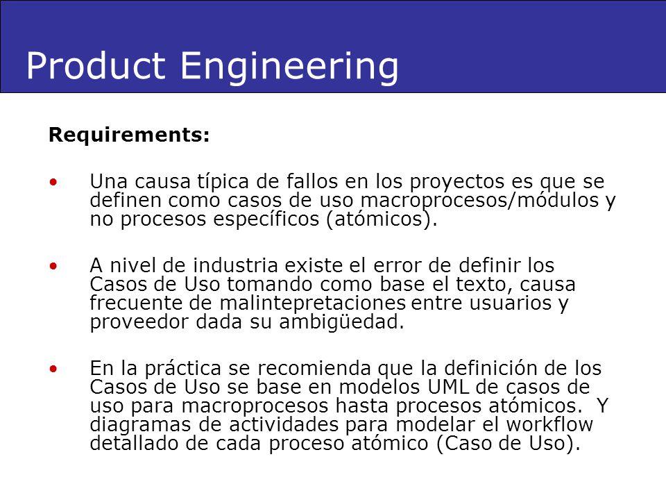 Requirements: Una causa típica de fallos en los proyectos es que se definen como casos de uso macroprocesos/módulos y no procesos específicos (atómico