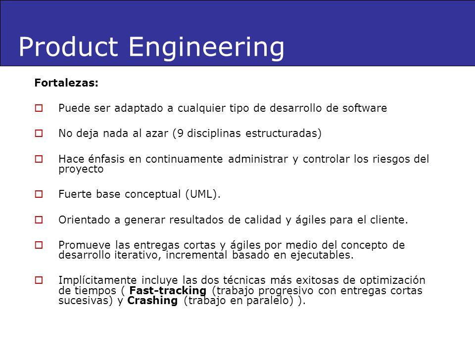 Fortalezas: Puede ser adaptado a cualquier tipo de desarrollo de software No deja nada al azar (9 disciplinas estructuradas) Hace énfasis en continuam