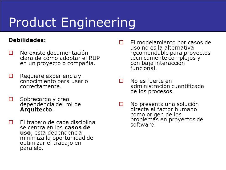 Debilidades: No existe documentación clara de cómo adoptar el RUP en un proyecto o compañía. Requiere experiencia y conocimiento para usarlo correctam