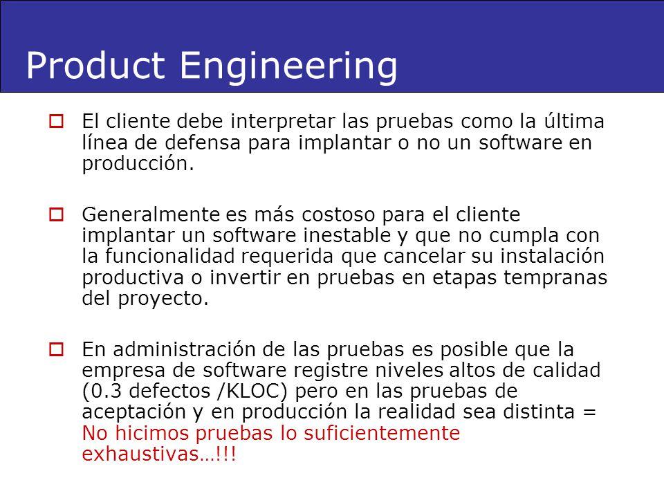 El cliente debe interpretar las pruebas como la última línea de defensa para implantar o no un software en producción. Generalmente es más costoso par