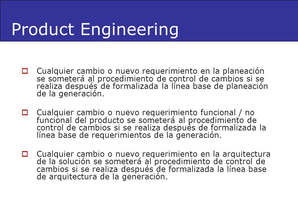 Product Engineering Cualquier cambio o nuevo requerimiento en la planeación se someterá al procedimiento de control de cambios si se realiza después d