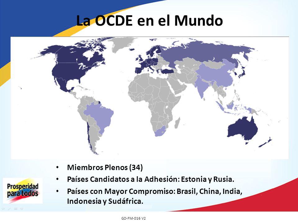 La OCDE en el Mundo GD-FM-016 V2 Miembros Plenos (34) Países Candidatos a la Adhesión: Estonia y Rusia. Países con Mayor Compromiso: Brasil, China, In