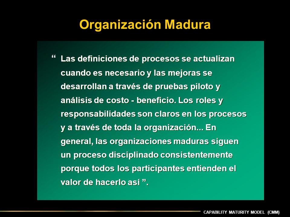 Organización Madura Las definiciones de procesos se actualizan cuando es necesario y las mejoras se desarrollan a través de pruebas piloto y análisis de costo - beneficio.