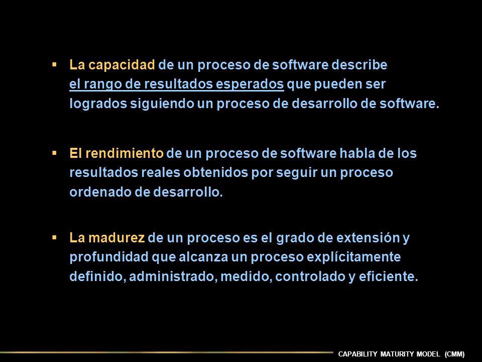 CAPABILITY MATURITY MODEL (CMM) La capacidad de un proceso de software describe el rango de resultados esperados que pueden ser logrados siguiendo un proceso de desarrollo de software.