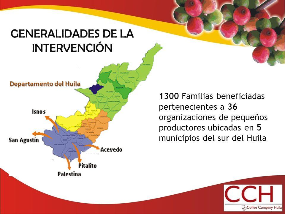 GENERALIDADES DE LA INTERVENCIÓN Departamento del Huila 1300 Familias beneficiadas pertenecientes a 36 organizaciones de pequeños productores ubicadas en 5 municipios del sur del Huila