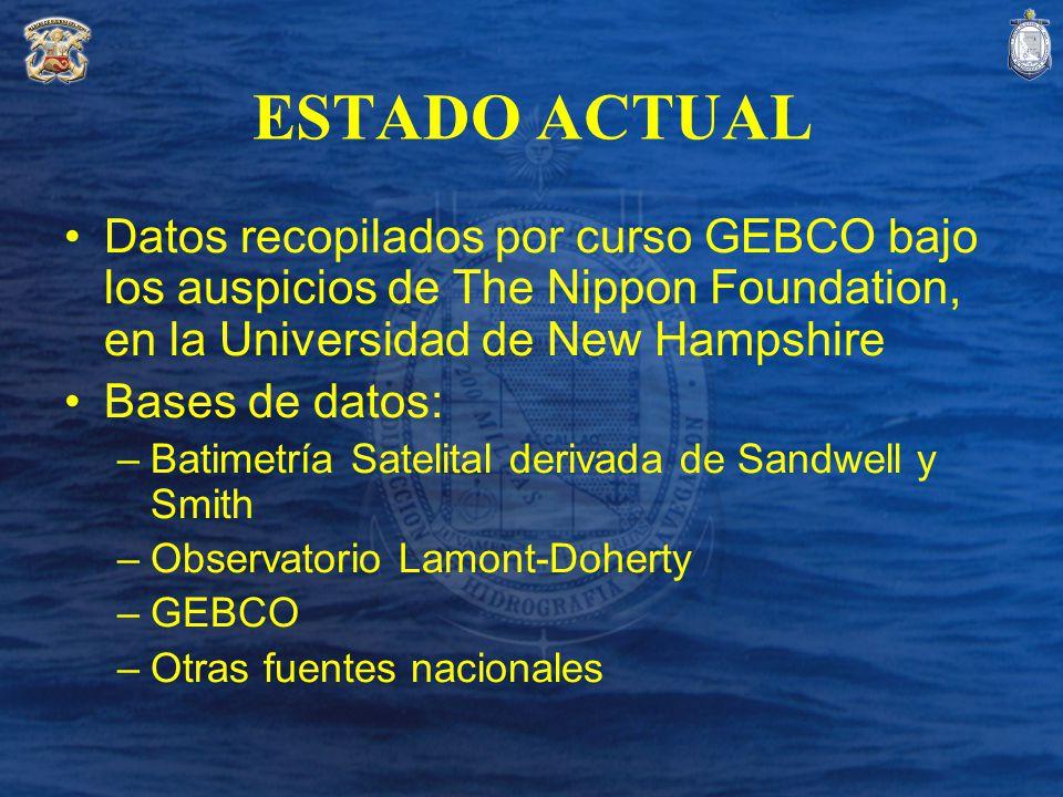 ESTADO ACTUAL Datos recopilados por curso GEBCO bajo los auspicios de The Nippon Foundation, en la Universidad de New Hampshire Bases de datos: –Batim