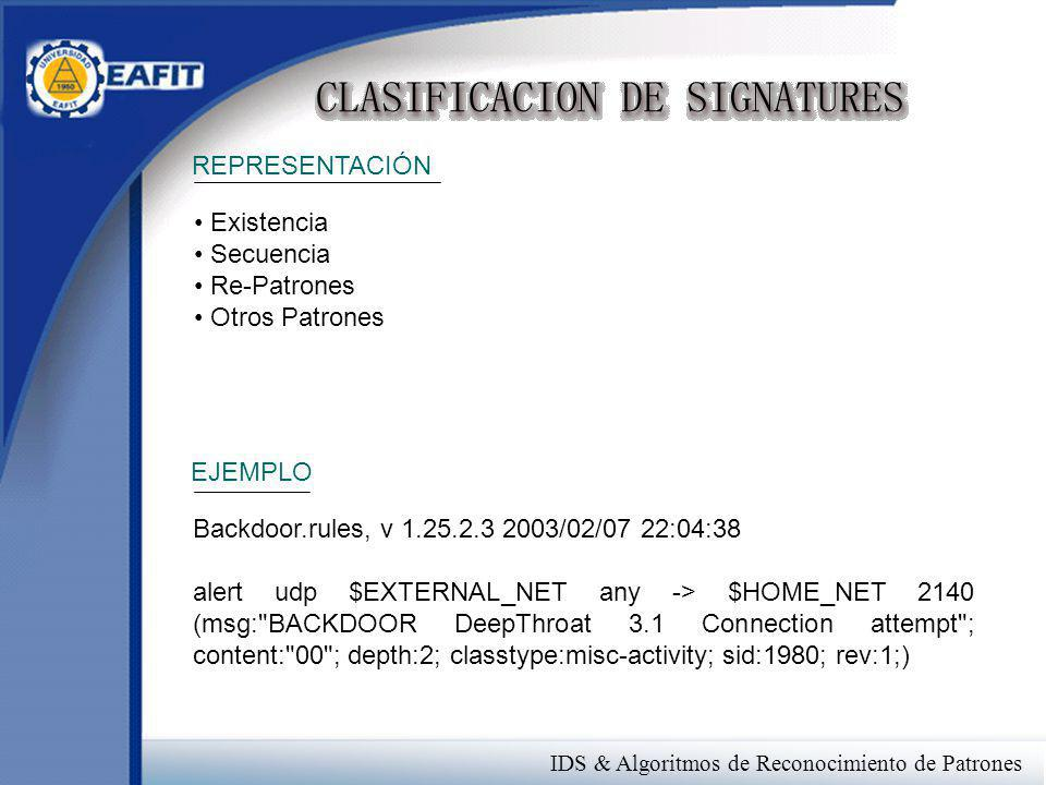 REPRESENTACIÓN Existencia Secuencia Re-Patrones Otros Patrones Backdoor.rules, v 1.25.2.3 2003/02/07 22:04:38 alert udp $EXTERNAL_NET any -> $HOME_NET 2140 (msg: BACKDOOR DeepThroat 3.1 Connection attempt ; content: 00 ; depth:2; classtype:misc-activity; sid:1980; rev:1;) EJEMPLO