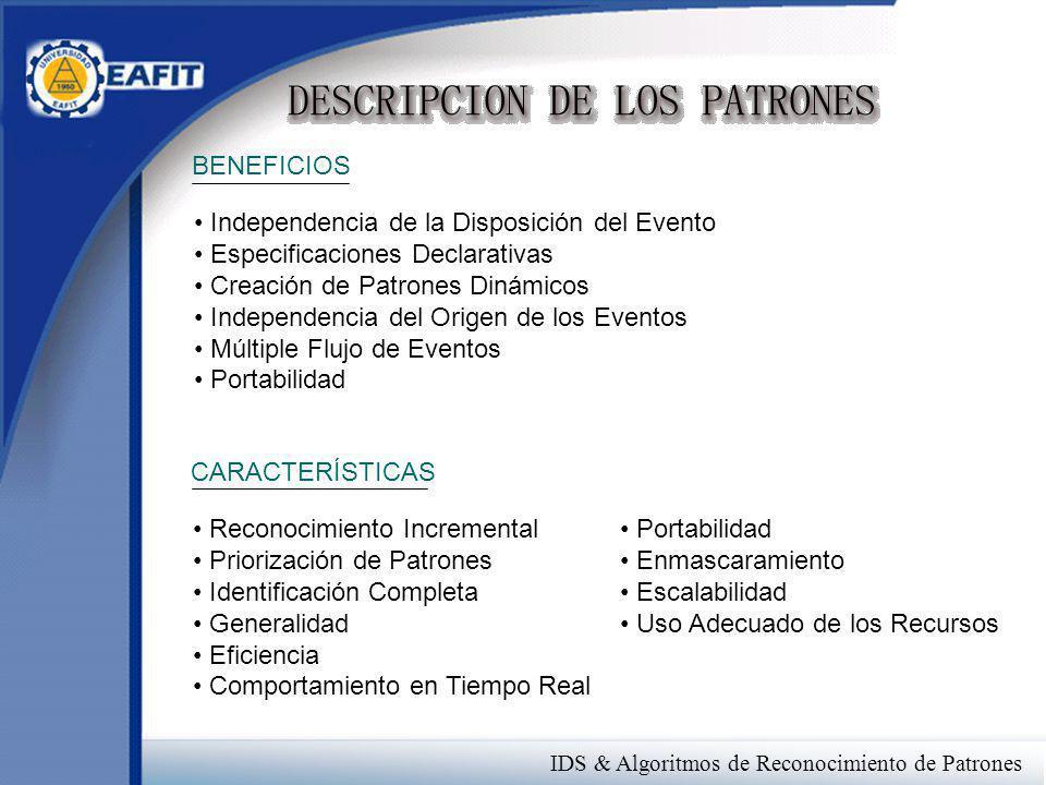 IDS & Algoritmos de Reconocimiento de Patrones BENEFICIOS Independencia de la Disposición del Evento Especificaciones Declarativas Creación de Patrone
