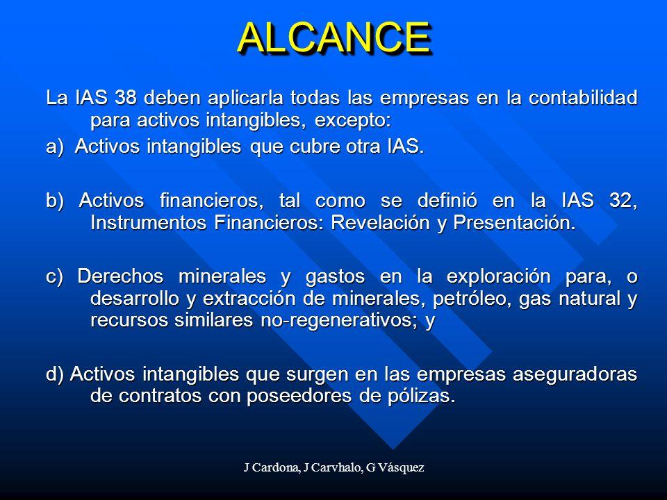 J Cardona, J Carvhalo, G Vásquez ALCANCEALCANCE La IAS 38 deben aplicarla todas las empresas en la contabilidad para activos intangibles, excepto: a)