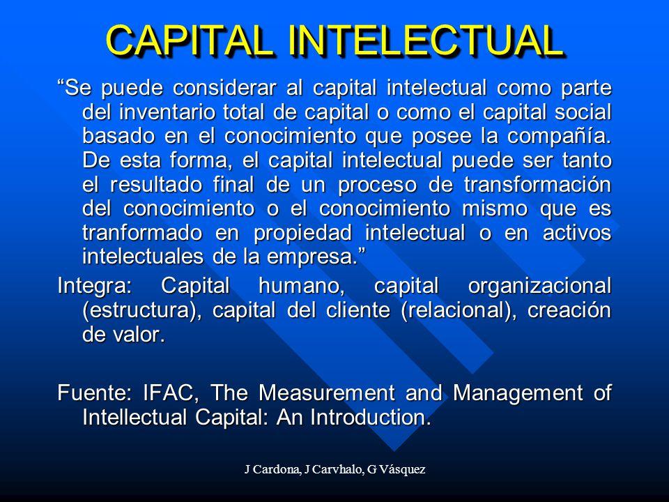 J Cardona, J Carvhalo, G Vásquez CAPITAL INTELECTUAL Se puede considerar al capital intelectual como parte del inventario total de capital o como el c