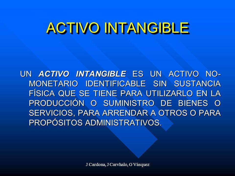 J Cardona, J Carvhalo, G Vásquez ACTIVO INTANGIBLE UN ACTIVO INTANGIBLE ES UN ACTIVO NO- MONETARIO IDENTIFICABLE SIN SUSTANCIA FÍSICA QUE SE TIENE PAR
