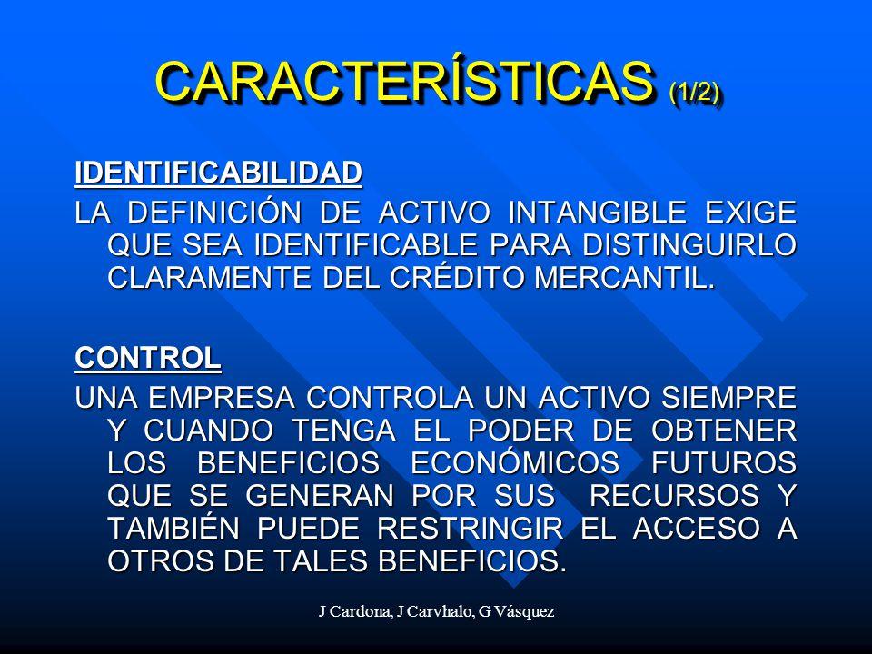 J Cardona, J Carvhalo, G Vásquez CARACTERÍSTICAS (1/2) IDENTIFICABILIDAD LA DEFINICIÓN DE ACTIVO INTANGIBLE EXIGE QUE SEA IDENTIFICABLE PARA DISTINGUI