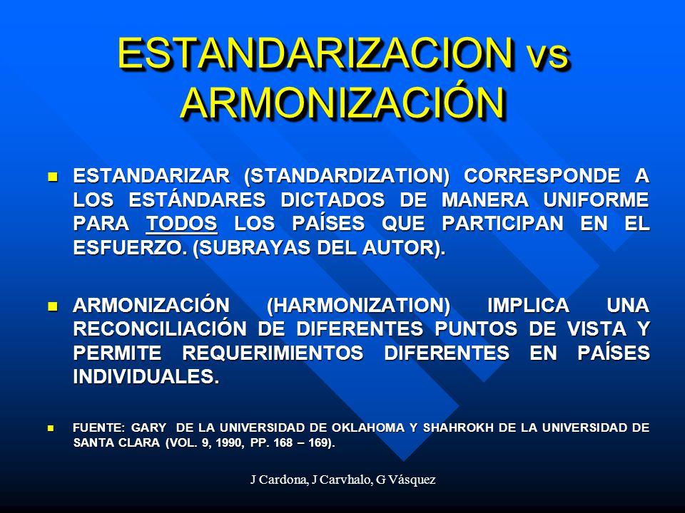 J Cardona, J Carvhalo, G Vásquez ESTANDARIZACION vs ARMONIZACIÓN ESTANDARIZAR (STANDARDIZATION) CORRESPONDE A LOS ESTÁNDARES DICTADOS DE MANERA UNIFOR