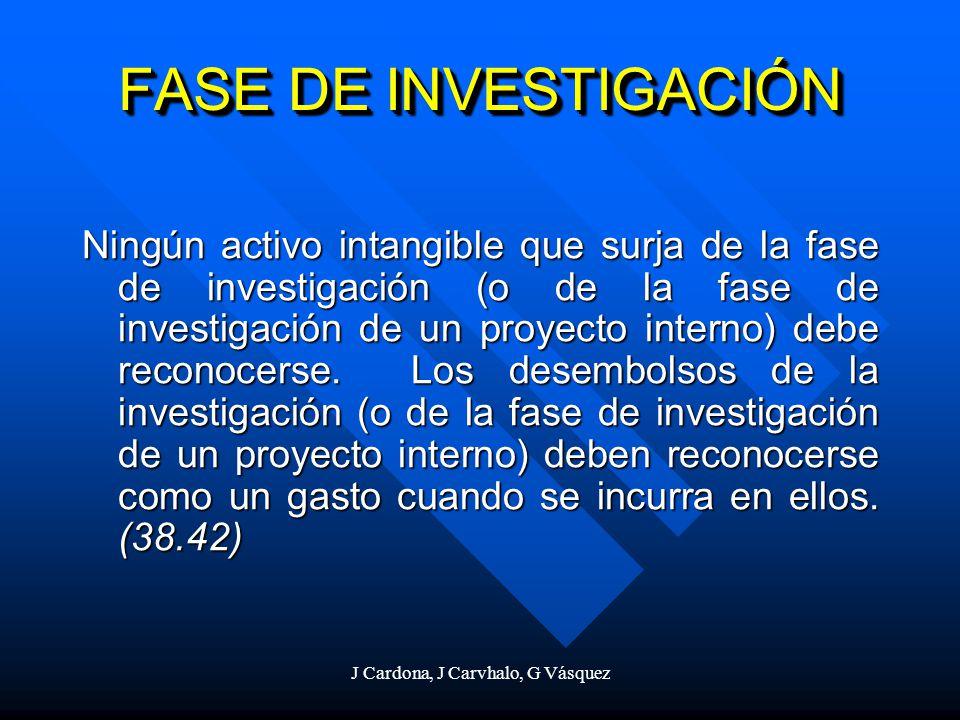 J Cardona, J Carvhalo, G Vásquez FASE DE INVESTIGACIÓN Ningún activo intangible que surja de la fase de investigación (o de la fase de investigación d