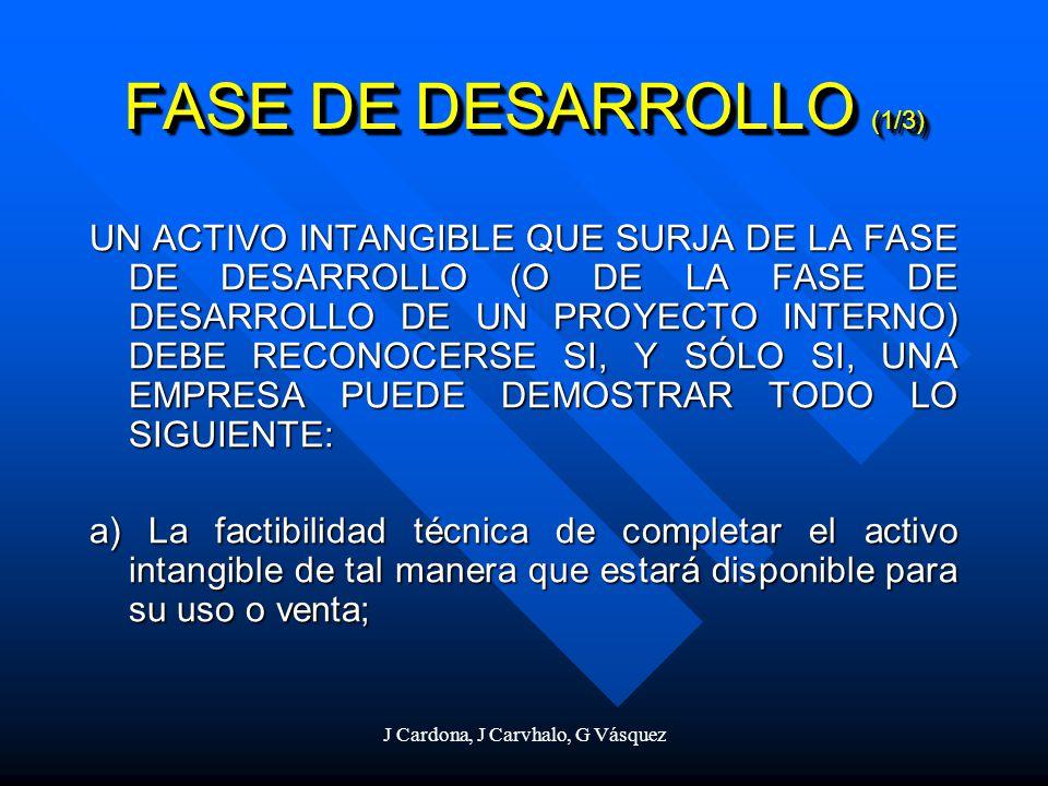 J Cardona, J Carvhalo, G Vásquez FASE DE DESARROLLO (1/3) UN ACTIVO INTANGIBLE QUE SURJA DE LA FASE DE DESARROLLO (O DE LA FASE DE DESARROLLO DE UN PR