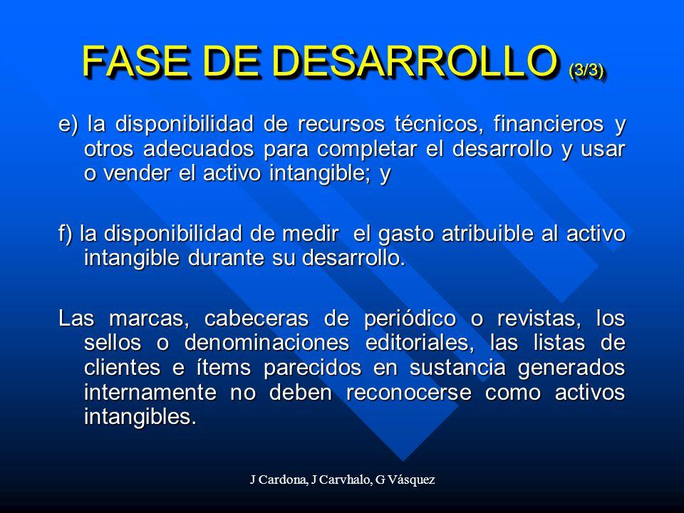 J Cardona, J Carvhalo, G Vásquez e) la disponibilidad de recursos técnicos, financieros y otros adecuados para completar el desarrollo y usar o vender