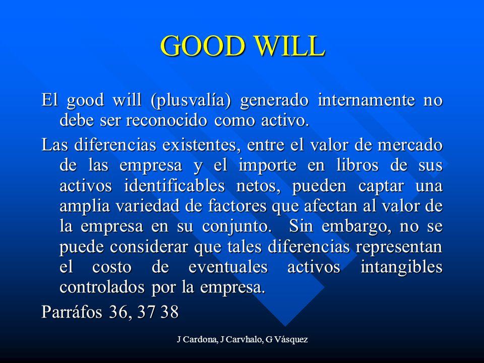 J Cardona, J Carvhalo, G Vásquez GOOD WILL El good will (plusvalía) generado internamente no debe ser reconocido como activo. Las diferencias existent