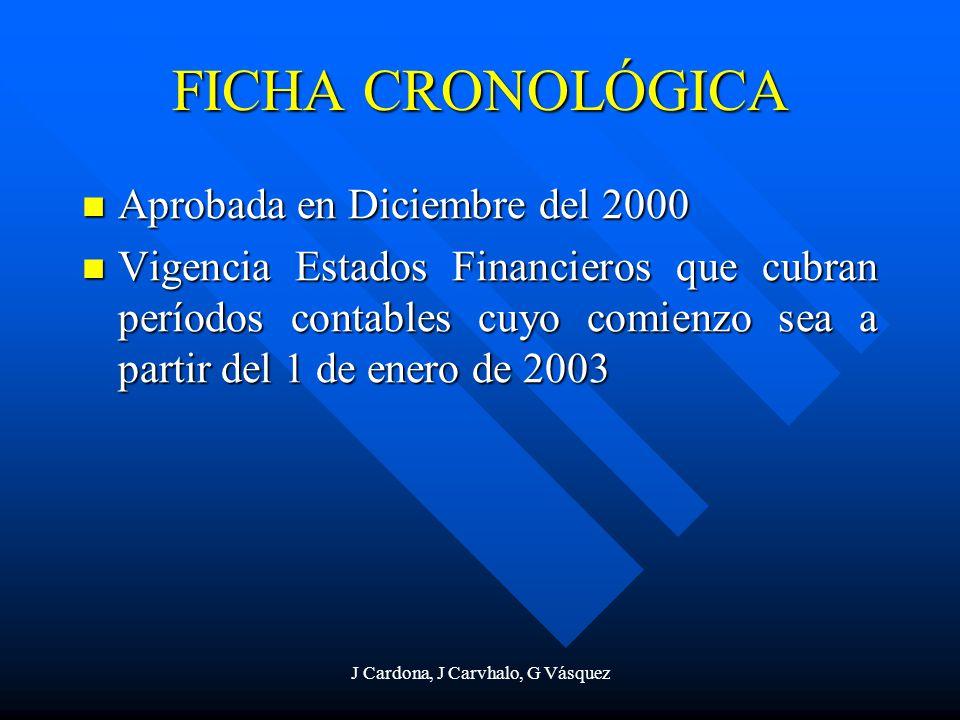 J Cardona, J Carvhalo, G Vásquez FICHA CRONOLÓGICA Aprobada en Diciembre del 2000 Aprobada en Diciembre del 2000 Vigencia Estados Financieros que cubr