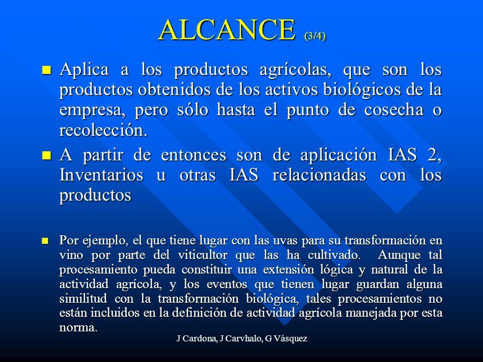 J Cardona, J Carvhalo, G Vásquez ALCANCE (3/4) Aplica a los productos agrícolas, que son los productos obtenidos de los activos biológicos de la empre