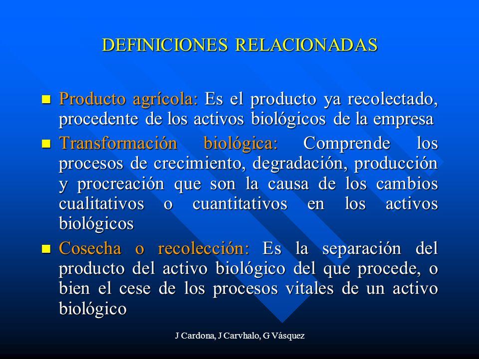 J Cardona, J Carvhalo, G Vásquez DEFINICIONES RELACIONADAS Producto agrícola: Es el producto ya recolectado, procedente de los activos biológicos de l