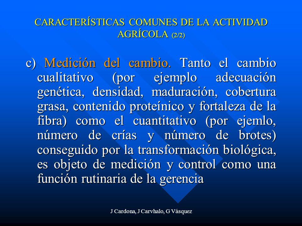 J Cardona, J Carvhalo, G Vásquez c) Medición del cambio. Tanto el cambio cualitativo (por ejemplo adecuación genética, densidad, maduración, cobertura