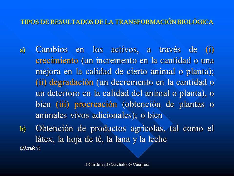 J Cardona, J Carvhalo, G Vásquez TIPOS DE RESULTADOS DE LA TRANSFORMACIÓN BIOLÓGICA a) Cambios en los activos, a través de (i) crecimiento (un increme