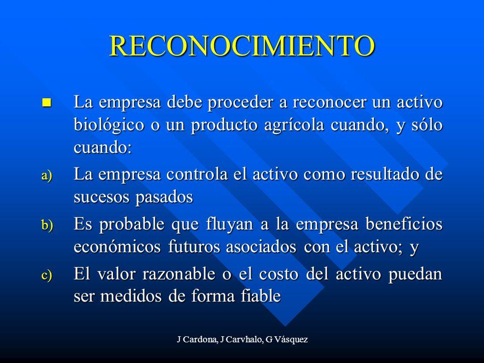 J Cardona, J Carvhalo, G Vásquez RECONOCIMIENTO La empresa debe proceder a reconocer un activo biológico o un producto agrícola cuando, y sólo cuando: