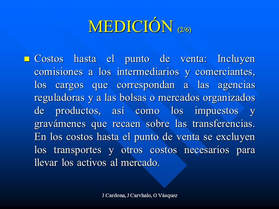 J Cardona, J Carvhalo, G Vásquez Costos hasta el punto de venta: Incluyen comisiones a los intermediarios y comerciantes, los cargos que correspondan