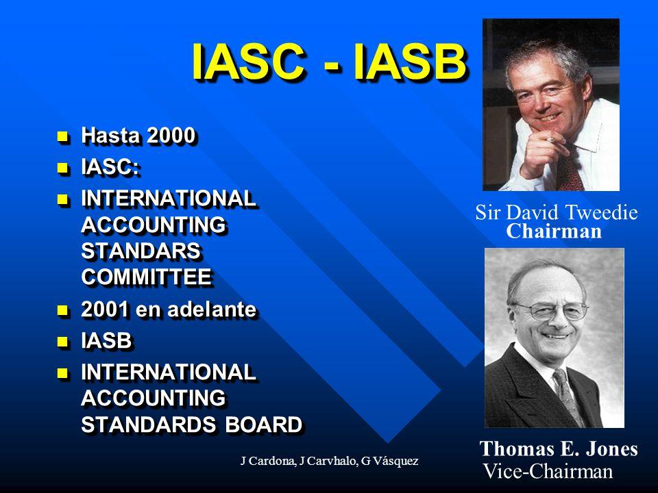 J Cardona, J Carvhalo, G Vásquez IASC - IASB Hasta 2000 Hasta 2000 IASC: IASC: INTERNATIONAL ACCOUNTING STANDARS COMMITTEE INTERNATIONAL ACCOUNTING ST