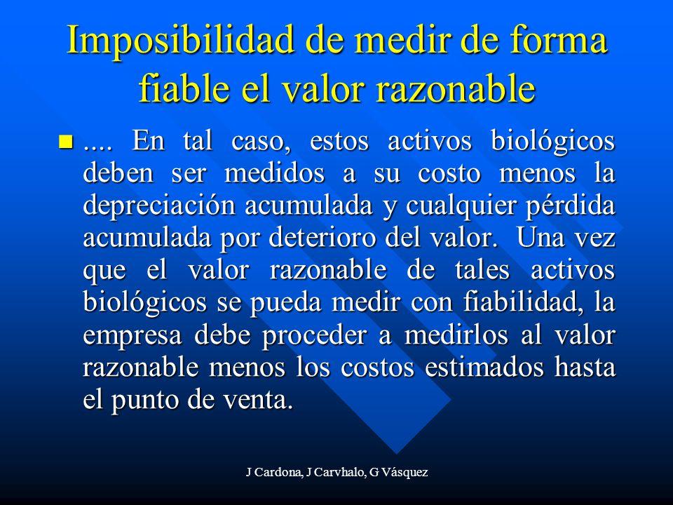 J Cardona, J Carvhalo, G Vásquez Imposibilidad de medir de forma fiable el valor razonable.... En tal caso, estos activos biológicos deben ser medidos