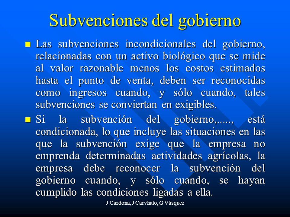 J Cardona, J Carvhalo, G Vásquez Subvenciones del gobierno Las subvenciones incondicionales del gobierno, relacionadas con un activo biológico que se