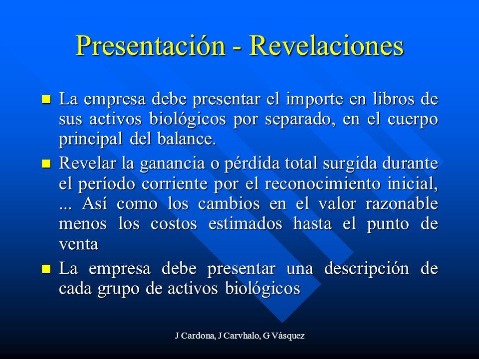 J Cardona, J Carvhalo, G Vásquez Presentación - Revelaciones La empresa debe presentar el importe en libros de sus activos biológicos por separado, en