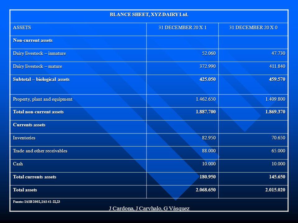 J Cardona, J Carvhalo, G Vásquez BLANCE SHEET, XYZ DAIRY Ltd. ASSETS 31 DECEMBER 20 X 1 31 DECEMBER 20 X 0 Non-current assets Dairy livestock – inmatu