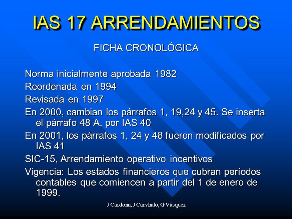 J Cardona, J Carvhalo, G Vásquez IAS 17 ARRENDAMIENTOS FICHA CRONOLÓGICA Norma inicialmente aprobada 1982 Reordenada en 1994 Revisada en 1997 En 2000,