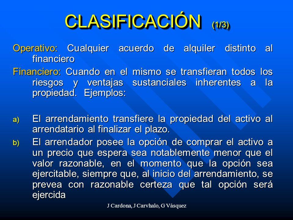 J Cardona, J Carvhalo, G Vásquez CLASIFICACIÓN (1/3) Operativo: Cualquier acuerdo de alquiler distinto al financiero Financiero: Cuando en el mismo se