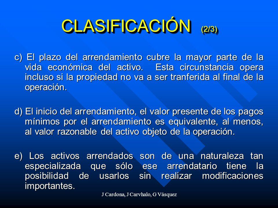 J Cardona, J Carvhalo, G Vásquez c) El plazo del arrendamiento cubre la mayor parte de la vida económica del activo. Esta circunstancia opera incluso