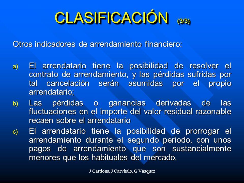 J Cardona, J Carvhalo, G Vásquez Otros indicadores de arrendamiento financiero: a) El arrendatario tiene la posibilidad de resolver el contrato de arr