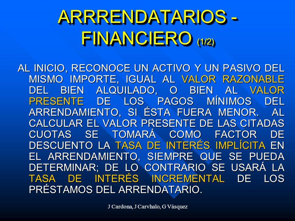 J Cardona, J Carvhalo, G Vásquez ARRRENDATARIOS - FINANCIERO (1/2) AL INICIO, RECONOCE UN ACTIVO Y UN PASIVO DEL MISMO IMPORTE, IGUAL AL VALOR RAZONAB