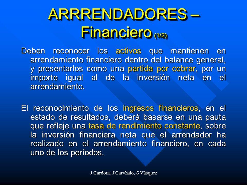 J Cardona, J Carvhalo, G Vásquez ARRRENDADORES – Financiero (1/2) Deben reconocer los activos que mantienen en arrendamiento financiero dentro del bal