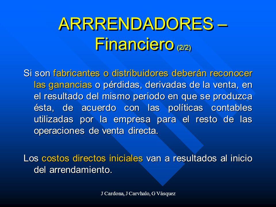 J Cardona, J Carvhalo, G Vásquez Si son fabricantes o distribuidores deberán reconocer las ganancias o pérdidas, derivadas de la venta, en el resultad