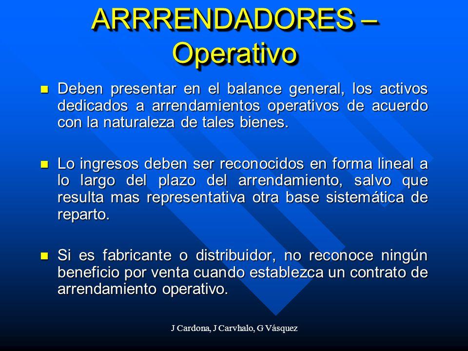 J Cardona, J Carvhalo, G Vásquez Deben presentar en el balance general, los activos dedicados a arrendamientos operativos de acuerdo con la naturaleza