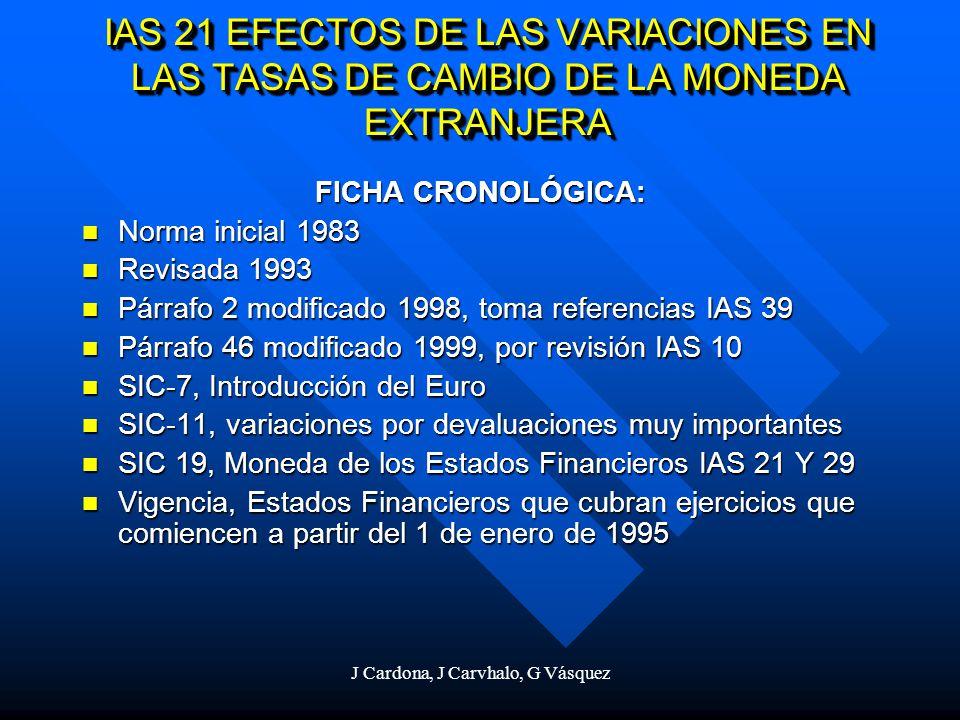 J Cardona, J Carvhalo, G Vásquez IAS 21 EFECTOS DE LAS VARIACIONES EN LAS TASAS DE CAMBIO DE LA MONEDA EXTRANJERA FICHA CRONOLÓGICA: Norma inicial 198