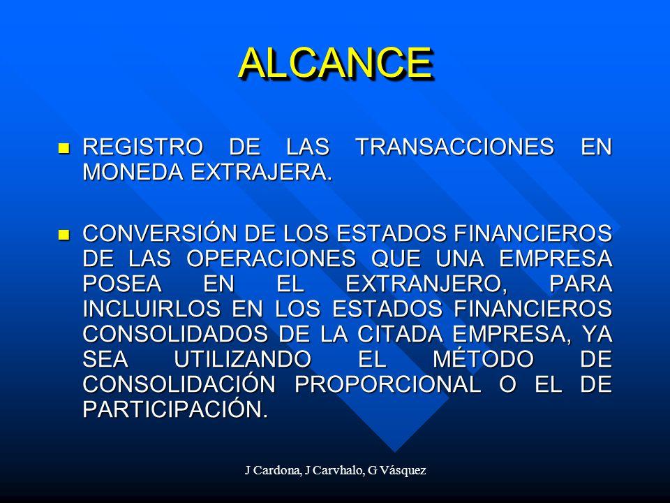 J Cardona, J Carvhalo, G Vásquez ALCANCEALCANCE REGISTRO DE LAS TRANSACCIONES EN MONEDA EXTRAJERA. REGISTRO DE LAS TRANSACCIONES EN MONEDA EXTRAJERA.