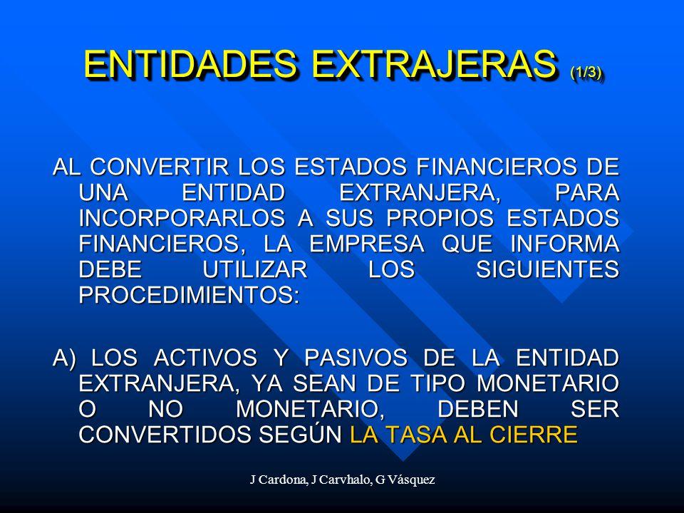 J Cardona, J Carvhalo, G Vásquez ENTIDADES EXTRAJERAS (1/3) AL CONVERTIR LOS ESTADOS FINANCIEROS DE UNA ENTIDAD EXTRANJERA, PARA INCORPORARLOS A SUS P