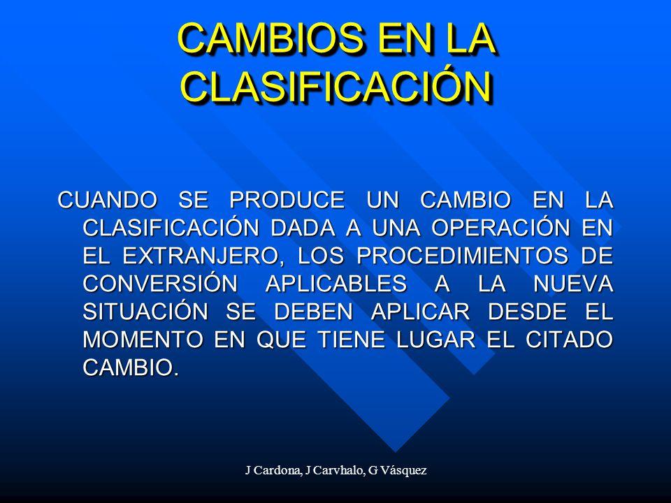 J Cardona, J Carvhalo, G Vásquez CAMBIOS EN LA CLASIFICACIÓN CUANDO SE PRODUCE UN CAMBIO EN LA CLASIFICACIÓN DADA A UNA OPERACIÓN EN EL EXTRANJERO, LO