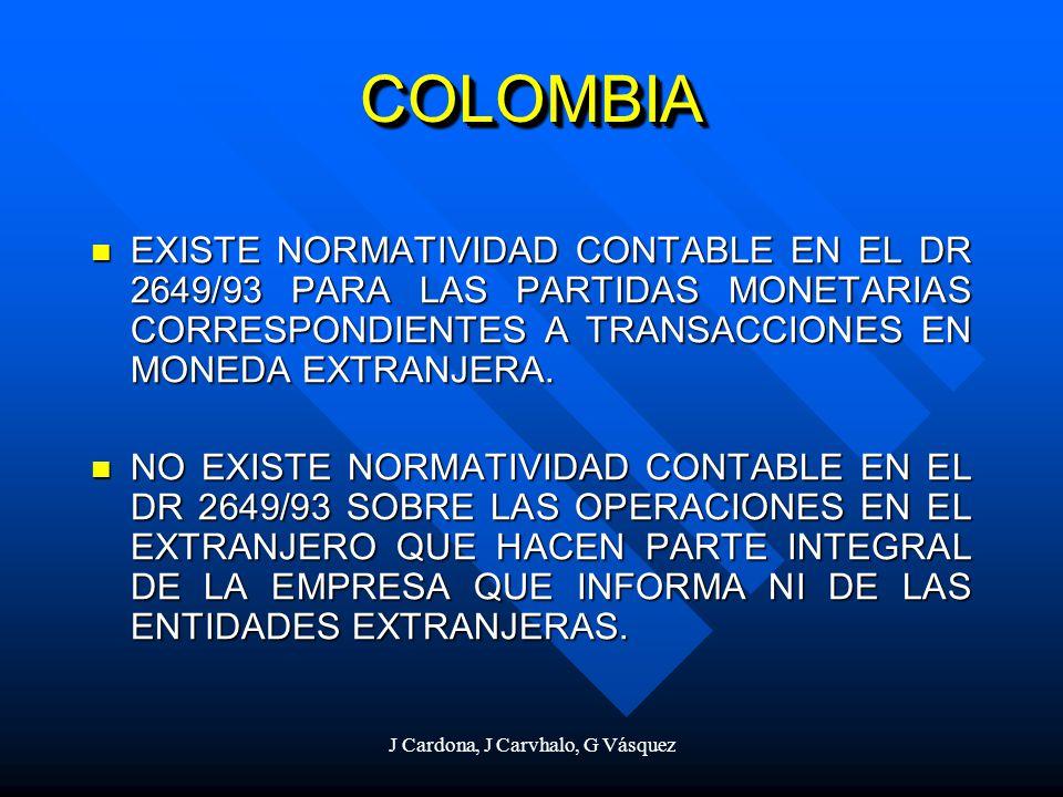 J Cardona, J Carvhalo, G Vásquez COLOMBIACOLOMBIA EXISTE NORMATIVIDAD CONTABLE EN EL DR 2649/93 PARA LAS PARTIDAS MONETARIAS CORRESPONDIENTES A TRANSA