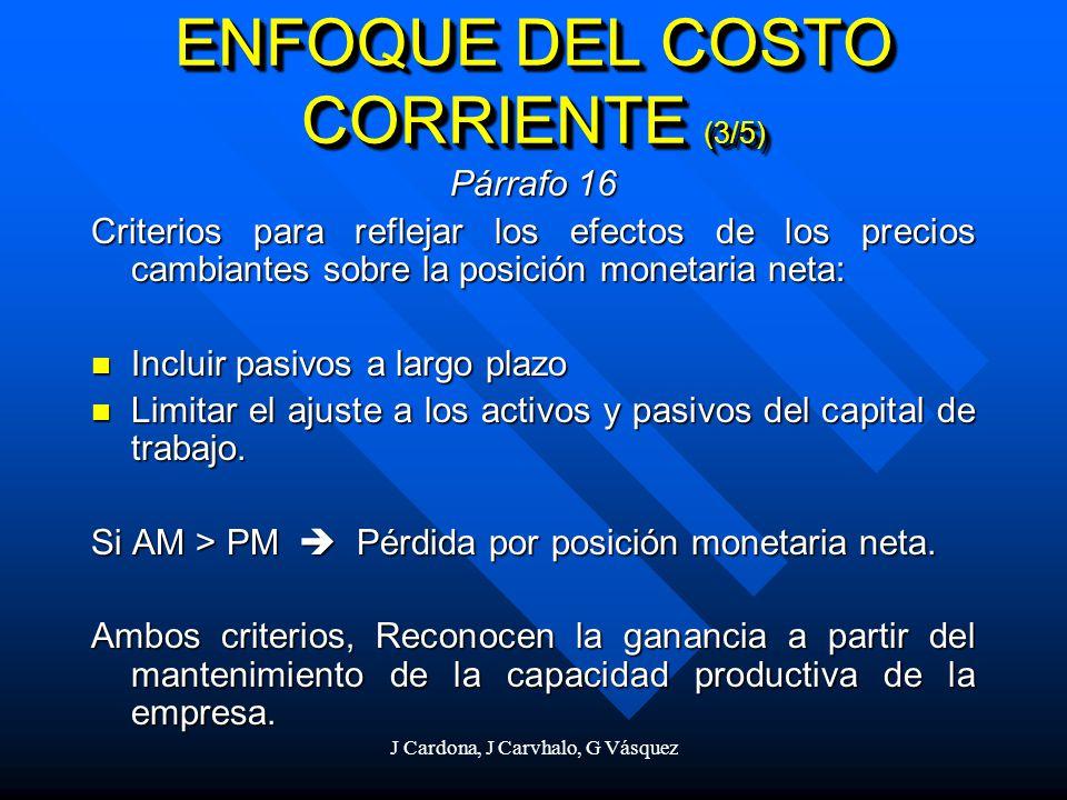 J Cardona, J Carvhalo, G Vásquez Párrafo 16 Criterios para reflejar los efectos de los precios cambiantes sobre la posición monetaria neta: Incluir pa